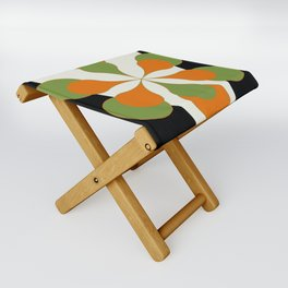 Mid-Century Modern Art 1.4 - Green & Orange Flower Folding Stool