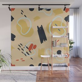abstract memphis pattern natural warm colours Wall Mural