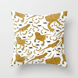 Large Bearded Dragon pattern Throw Pillow