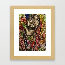 La flame,travis,music,hiphop,poster,astro world,tour,wall art,artwork,painting,colourful Framed Art Print