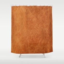 Farmhouse Style Original Camel Leather Oriental Design. Shower Curtain