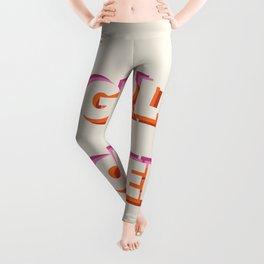Girl Power // in Orange Pink Beige Leggings