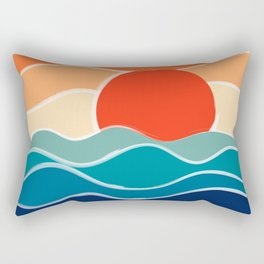 Retro 70s and 80s Color Palette Mid-Century Minimalist Nature Waves and Sun Abstract Art Rectangular Pillow
