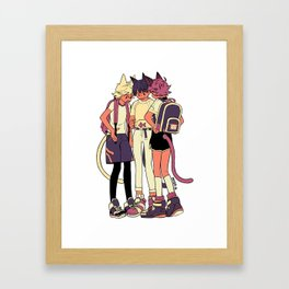 3 cats and a fish Framed Art Print