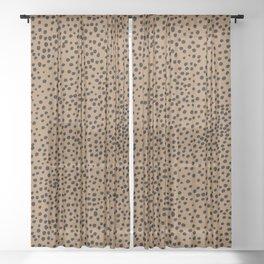 Little wild cheetah spots animal print neutral home trend rust copper black  Sheer Curtain