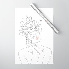 Minimal Line Art Woman with Magnolia Wrapping Paper