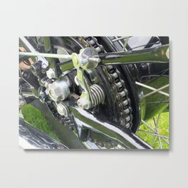 rear wheel and drive chain of a black vintage motorcycle Metal Print