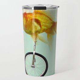 unicycle gold fish -2 Travel Mug