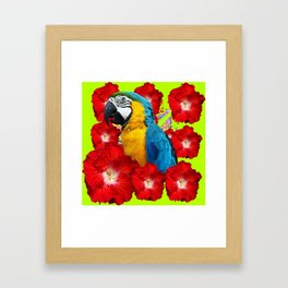 Chartreuse Red Hibiscus Flowers & Blue Macaw Parrot Framed Art Print