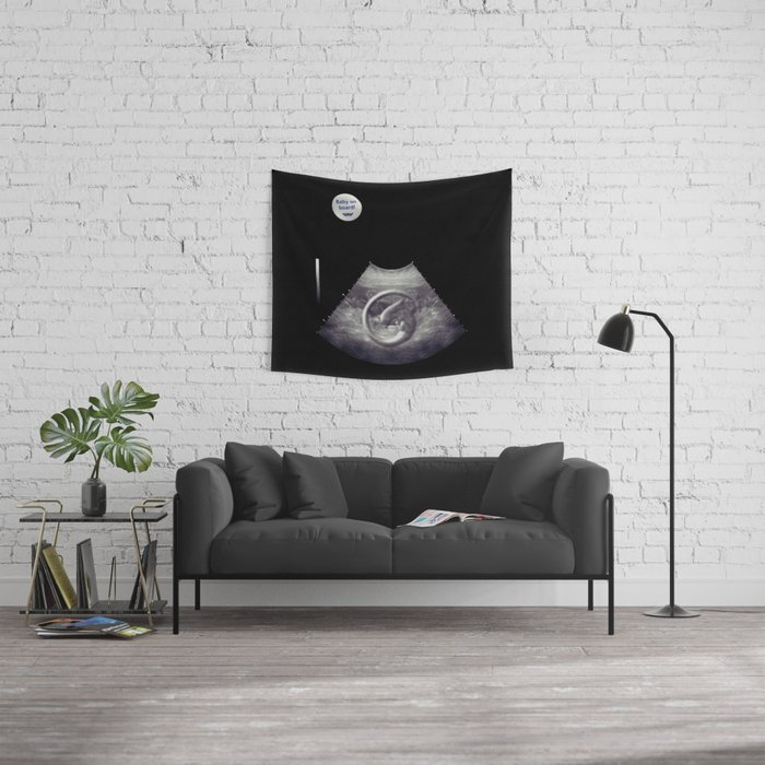 Alien on board - Ultrasound - badge variant Wall Tapestry