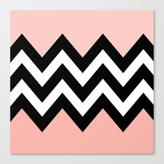 DOUBLE COLORBLOCK CHEVRON {PEACH/PEACH} Canvas Print