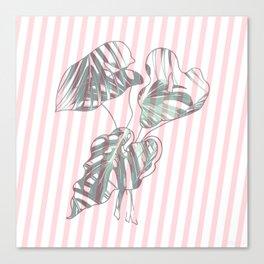 stripe flower leaf II Canvas Print