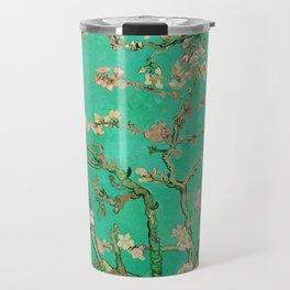 "Vincent van Gogh ""Almond Blossoms"" (edited emerald) Travel Mug"
