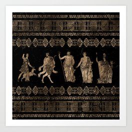 Greek Deities and Meander key ornament Art Print
