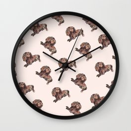 Dog Pattern 2 on Girly Pink Wall Clock