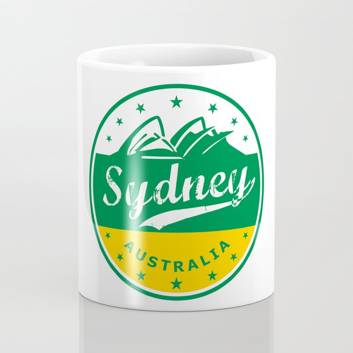 Sydney City, Australia, circle, green yellow Coffee Mug