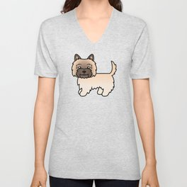 Cute Wheaten Cairn Terrier Dog Cartoon Illustration Unisex V-Neck