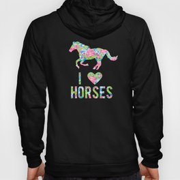 I Love Horses Floral Pattern Horse Hoody