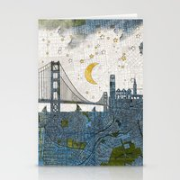san francisco map Stationery Cards featuring San Francisco skyline old map by Paula Belle Flores