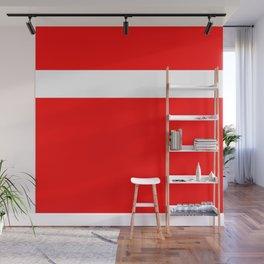 White stripe on red Wall Mural