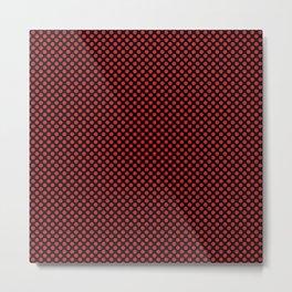 Black and Flame Scarlet Polka Dots Metal Print