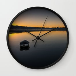 Boat on Knysna lagoon at Sunrise Wall Clock