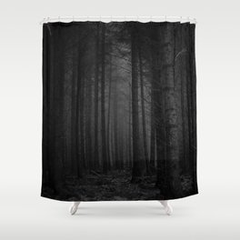 The Dense & Foggy Forest (Black and White) Shower Curtain