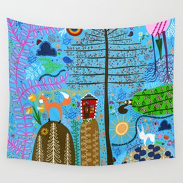 Whimsical Woodland Scene Wall Tapestry