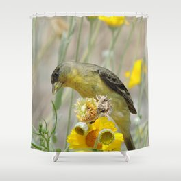 Feasting Finch Shower Curtain