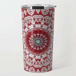 Red White Bohemian Mandala Design Travel Mug