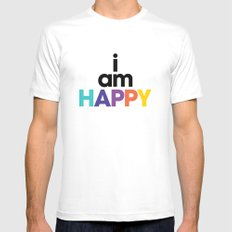 I am Happy White Mens Fitted Tee MEDIUM