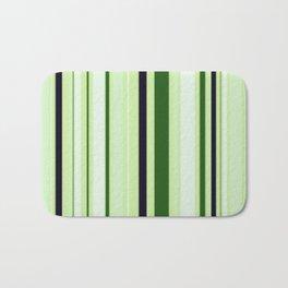 Black Light Blue and Shades of Green Stripes Bath Mat