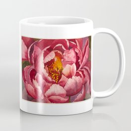 Pink Peony Flower Botanical Watercolor Macro Floral - Susanne Johnson Art Coffee Mug