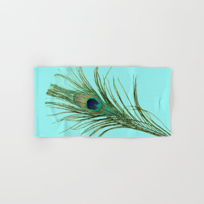 Peacock Feather on Blue Background Hand & Bath Towel
