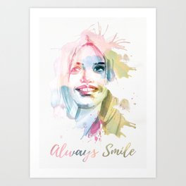 Always smile! Hand-painted portrait of a woman in watercolor. Art Print