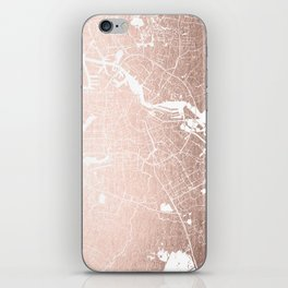Amsterdam Rosegold on White Street Map iPhone Skin