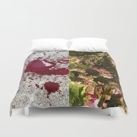 trout Duvet Covers featuring Dog's blood & spotted trout lettuce by Max Schultz