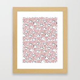 Heart Rain watercolor ink pattern basic minimal love valentines day gifts Framed Art Print