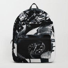 Details Of A Vintage Motorcycle Black White Backpack