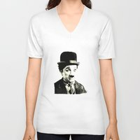 charlie chaplin V-neck T-shirts featuring Charlie Chaplin by Lauren Randalls ART