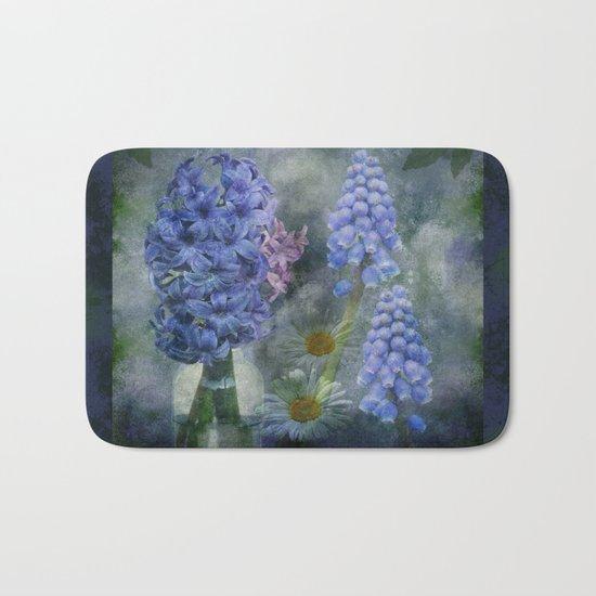 Painterly spring flowers on a grunge background Bath Mat