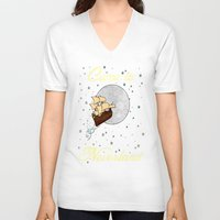 neverland V-neck T-shirts featuring Disney's Peter Pan Neverland Travel Poster 2 by foreverwars