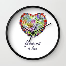 flowers in love . artlove . Wall Clock