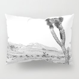 Vintage Desert Scape B&W // Cactus Nature Summer Sun Landscape Black and White Photography Pillow Sham