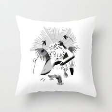 Feeding the birds Throw Pillow