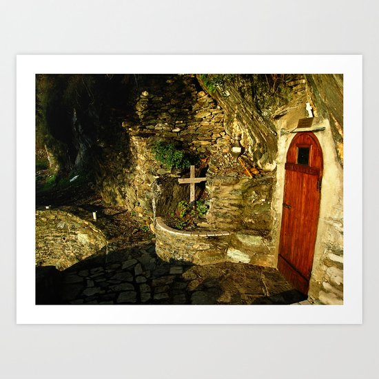 The Monastic Rock Hut of Elder Gerasimos of Kephalonia, Mount Athos Art Print