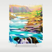river Shower Curtains featuring River by Liam Brazier
