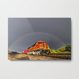 BNSF Train with Rainbow at Henrietta Missouri Metal Print