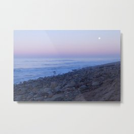 Ventura Shoreline with Full Moon and Sunset Metal Print