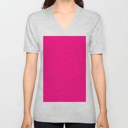 Bright Pink Unisex V-Neck